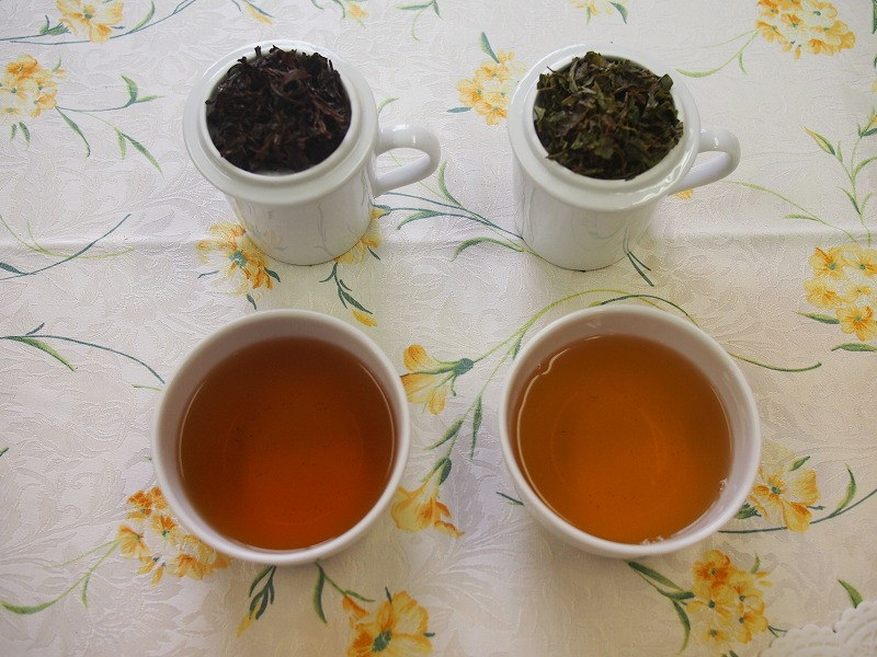 ダージリンセカンドフラッシュとファーストフラッシュの茶葉と水色の違い。左がセカンドフラッシュ、右がファーストフラッシュです。