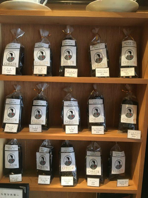 クリスティーの紅茶売り場。おすすめはスリランカ、インド、中国の紅茶と台湾のウーロン茶がブレンドされた「クリスティーブレンド」