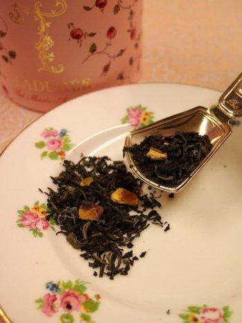 柑橘系のドライフルーツが入っているので茶葉も可愛らしいですね