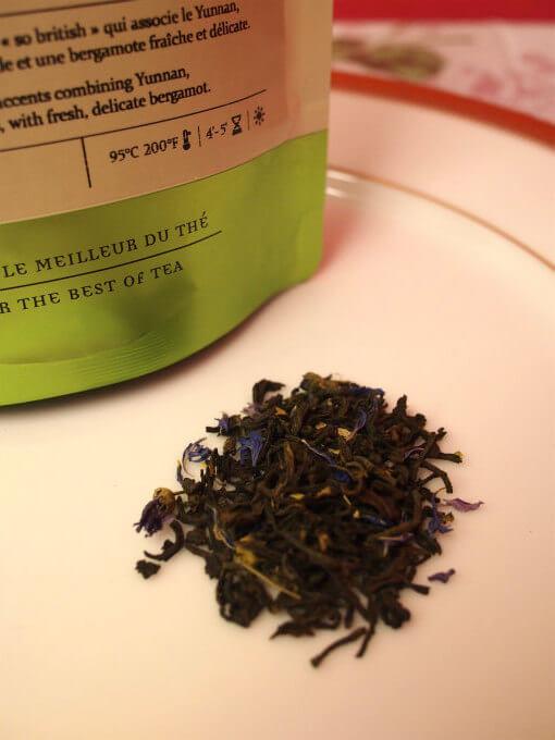 「ブルーオブロンドン」ベルガモットの香りにヤグルマギクや葵の花びらも入れた、やわらかい香りのアールグレイ