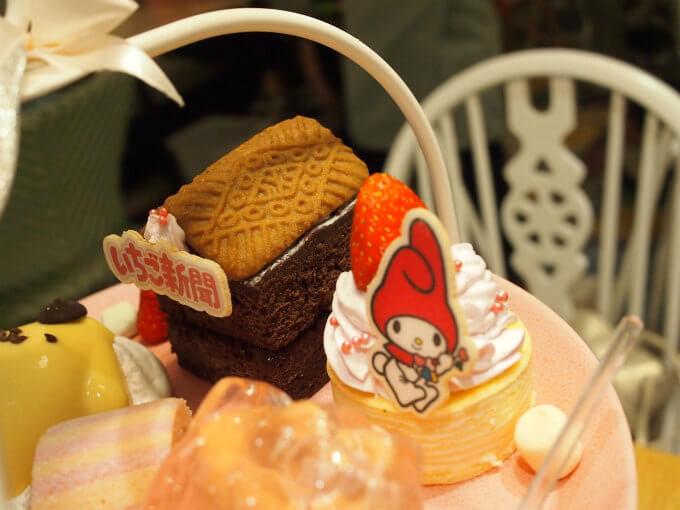 ガトーショコラのおうちは可愛くて美味しかった。マイメロちゃんはウエハースのプレートでホッ