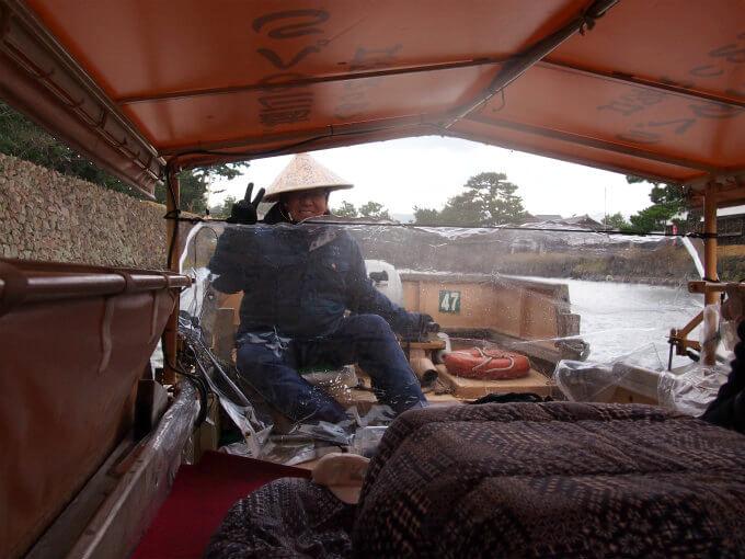 堀川めぐりの小舟にはこたつがあるので寒い時期も大丈夫!この船頭さんとっても面白かった!