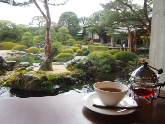 お庭を眺めながら休憩できるカフェ。足立美術館には喫茶室が2つあり、茶室も2つもあるので、広い館内でもちょくちょく休むことが出来ます。