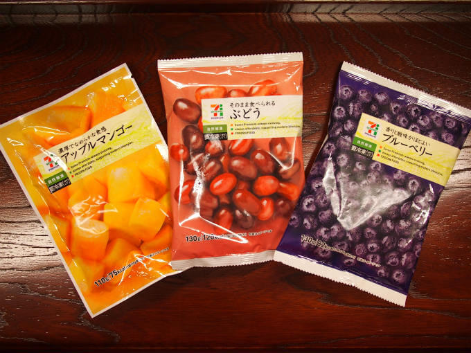 価格はどれも200円くらいで量はフルーツによって多少異なり100g~130g。だいたい1袋でティースムージーが1杯作れる感じです。
