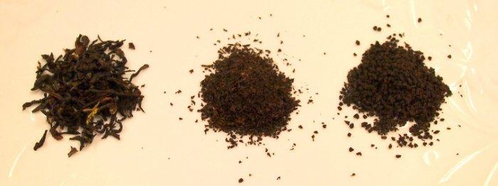 左からOPの茶葉、BOPの茶葉、CTCの茶葉