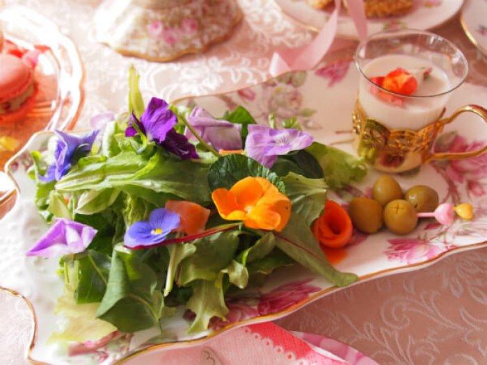お花畑サラダとビシソワーズスープ