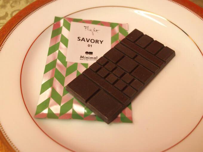 「SAVORY 01」はトリニダード・トバゴ産のカカオを 71%使用したチョコレート。 杉の木やハーブの風味のするちょっと変わったチョコレート。