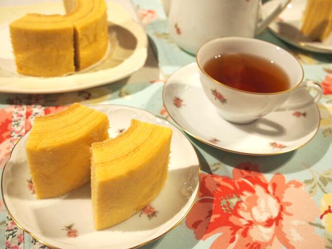 和歌山黒沢牧場のミルクバウムと紅茶
