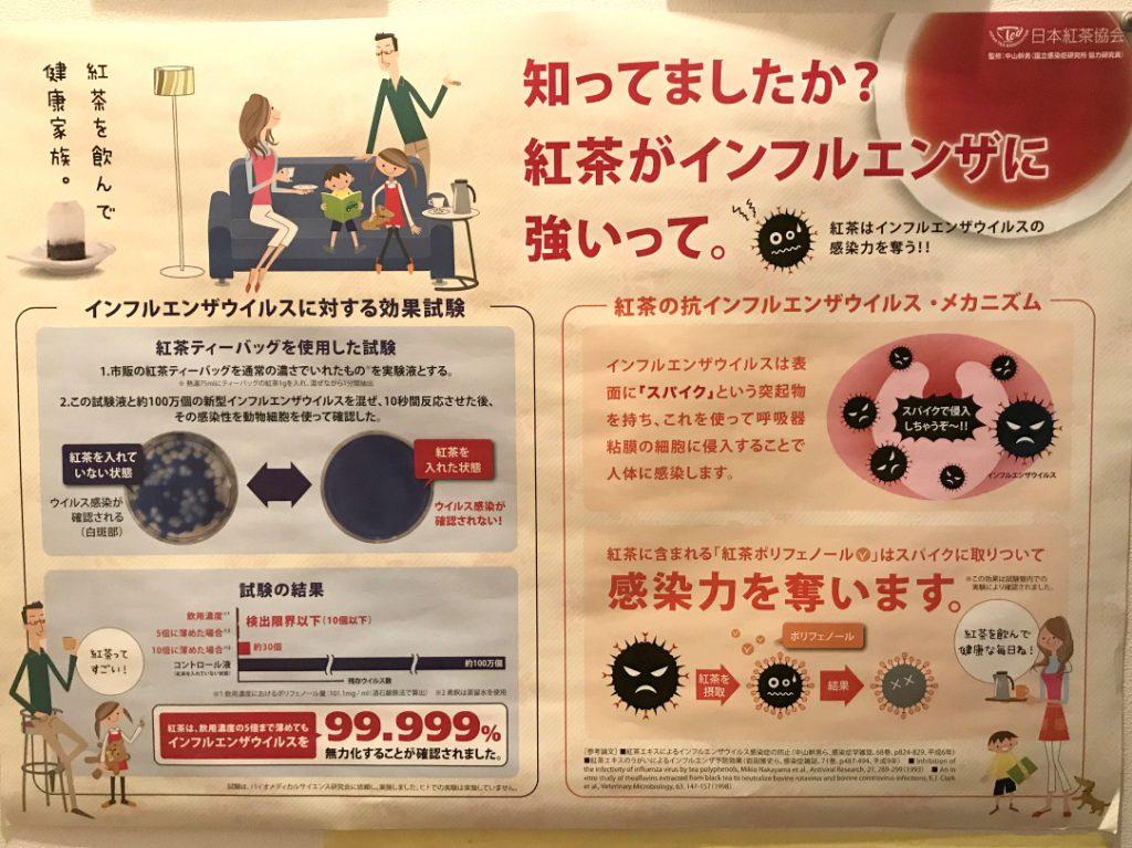 こちらは日本紅茶協会が作成したインフルエンザ予防に紅茶が効果的だよという内容のポスターです。
