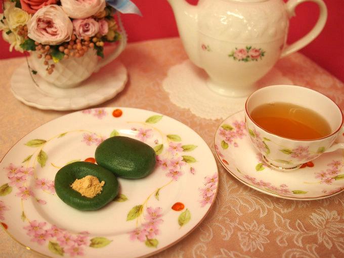 向じま 自慢草餅と紅茶