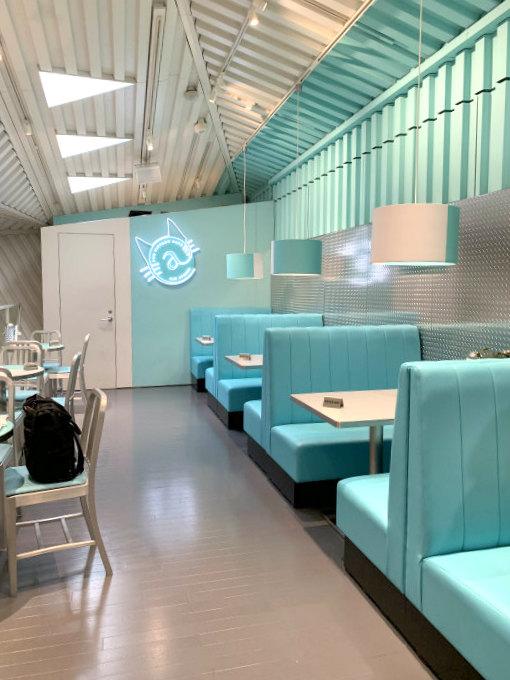 ティファニーカフェ@キャットストリートの店内。お席はソファ席が4つとテーブル席が4つのみ。