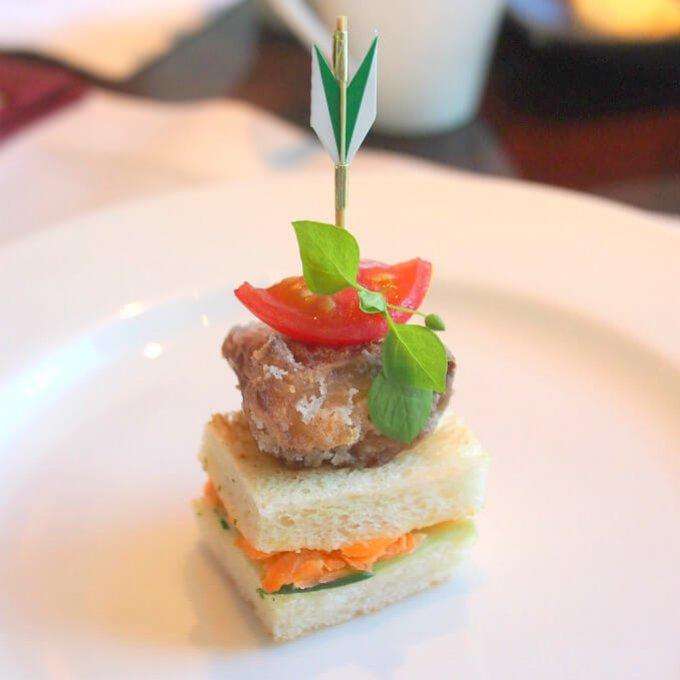 長崎県産鯖の竜田揚げオープンサンド鯖の竜田揚げ美味しすぎます!