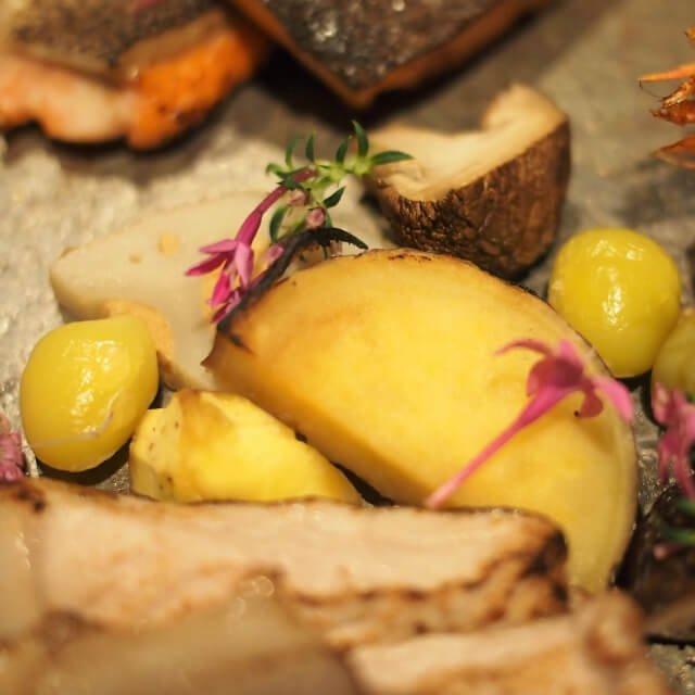 鳴門金時キャラメリゼ、椎茸網焼き、焼き栗、銀杏