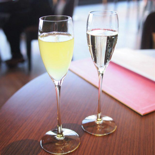 ウェルカムドリンクシャンパン、ノンアルコールは水出し緑茶でした。