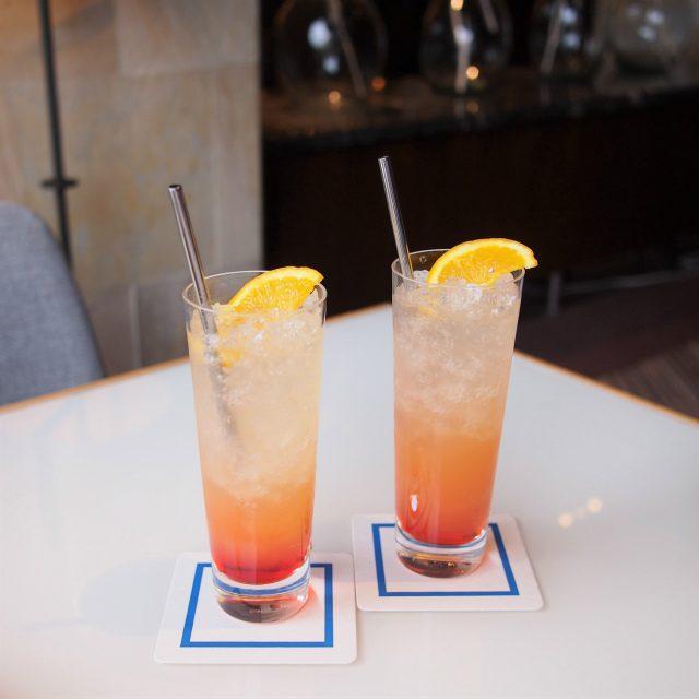 今回は一休のプランだったのでウェルカムドリンク付きでしたフェスティブノンアルコールカクテルグレナデンシロップとオレンジジュースのモクテル。
