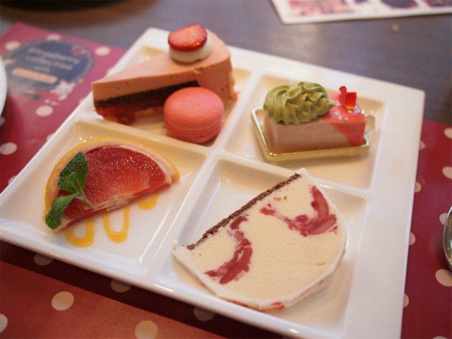 ひまわりちゃんの2皿目。ルビーチョコレートのムース、いちごマカロン、まるでいちごなムース、自家製マーブルアイスケーキ