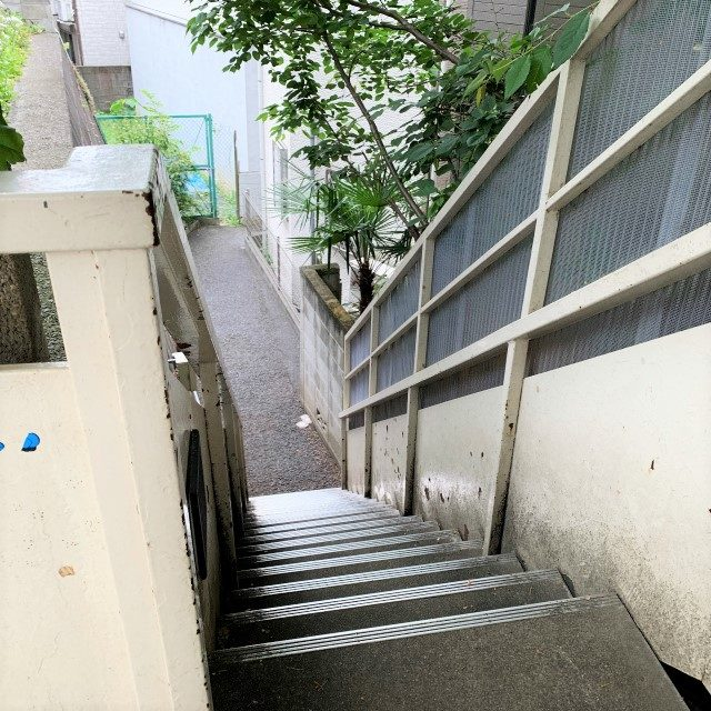 階段があるので、この階段を下ります。