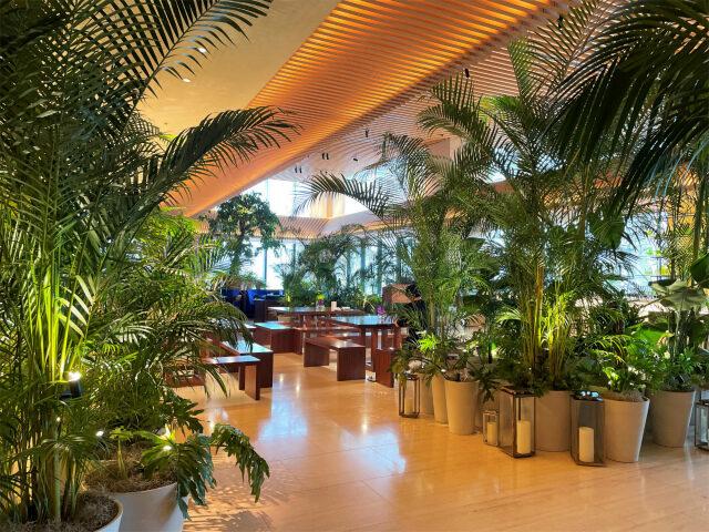 寺院の中庭をイメージしたという「Lobby Bar」
