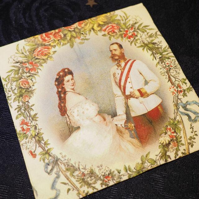 この日のナプキンはその肖像画のエリザベートがモチーフになったもの。ちゃんと星の髪飾りを着けていますね♪